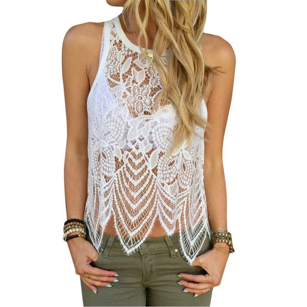 Summer Women  Sexy Withe Hollow Out Lace Crochet Blouse Casual Sleeveless Shirt Tops