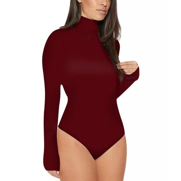 Summer Women Turtleneck Bodysuit Leotard Long Sleeve Casual Tops Rompers Womens Jumpsuit
