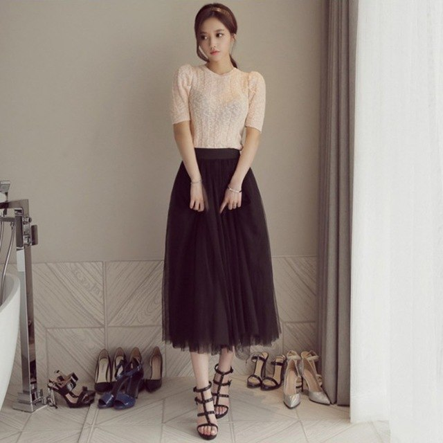 Summer Women Vintage Tulle Solid Color Skirts Mesh Elastic High Waist Pleated Long Tutu Skirt