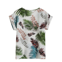Summer Women'S Casual Blouse Shirt Floral Chiffon Print O Neck Short Sleeve Lady'S Top Loose Blusas Plus Size L-4Xl