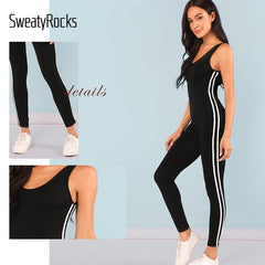 Black Backless Striped Side Bodycon Jumpsuit Sexy Sleeveless Activewear Clothes 2019 New Scoop Neck Women Jumpsuit