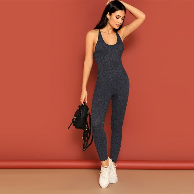 Criss Cross Backless Ribbed Knit Jumpsuit Activewear Solid Skinny Tank Jumpsuit 2019 Women Unitard Sexy Jumpsuit