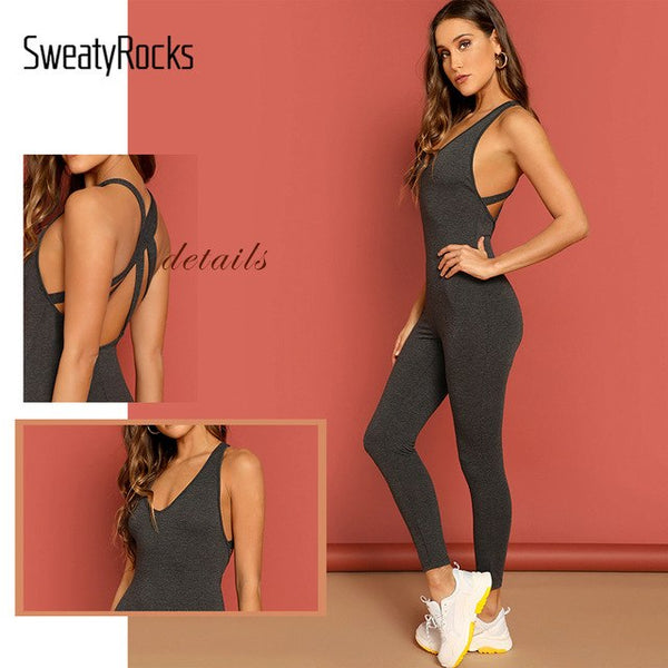 Crisscross Back Heathered Knit Unitard Jumpsuit Activewear Tank Jumpsuit Summer Women Skinny Grey V Neck Jumpsuit