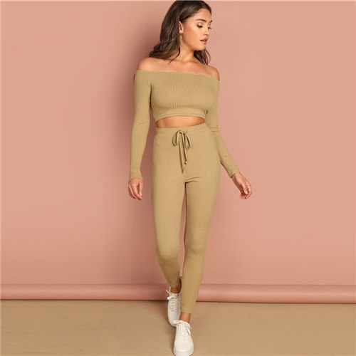 Khaki Ribbed Top & Drawstring Waist Pants Set Boat Neck Long Sleeve Crop Tops Active Wear Womens Casual 2 Piece Set