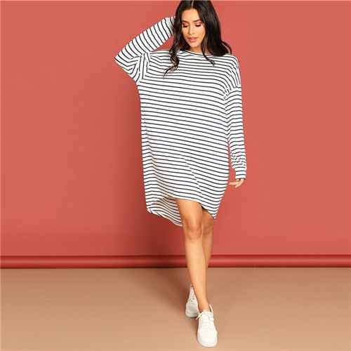 Striped T-Shirts Dress Asymmetrical Long Sleeve Loose Streetwear Dresses 2019 Spring Summer Women Casual Dresses