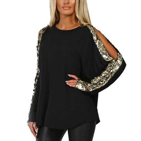 T-Shirts Casual O-Neck Sequins Long Sleeve Hollow Out Ladies Tops T-Shirt Ladies Shirts 2019