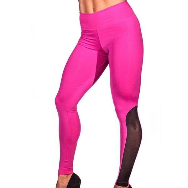 Top Push Up Leggings Women Plus Size Sporting Clothes Mesh Splicing Dry Quick Fitness Leggings Elastic Slim Jeggings S-Xl