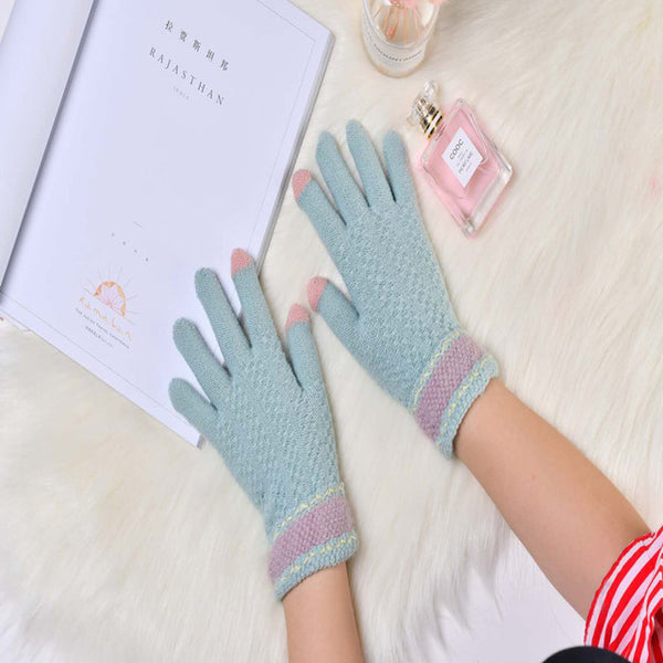 Touch Screen Glove Man Winter Cycling Non-Slip Thickening Keep Warm Knitting Wool Touch Screen Glove Woman