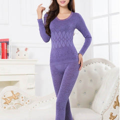 Winter Autumn Women Clothing The Lace Neck  Female Long-Sleeve Intimate Pajama Suit  Women'S Keep Warm Underwear New Sale H7