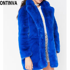 Winter Rabbit Faux Fur Jacket Women Fur Coat Large Size Yellow Blue Red Coats Thick Warm Slim Fur Coats