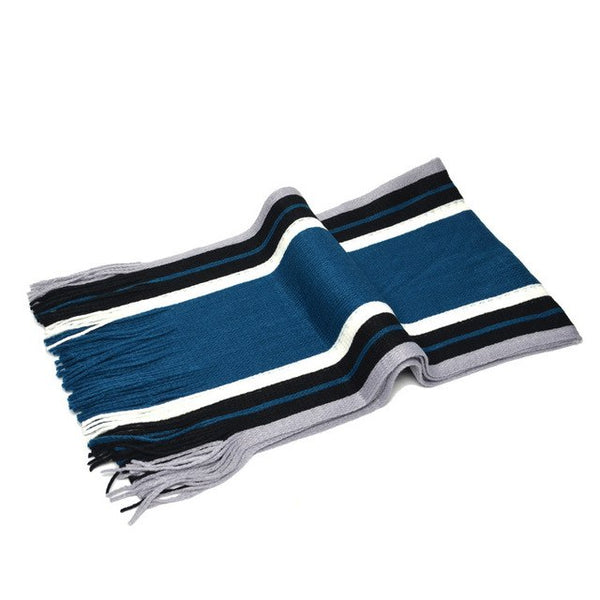Winter Warm Scarf Men Stripe Cotton Scarf & Male Shawl Wrap Knit Striped Tassels Scarf Man Scarf