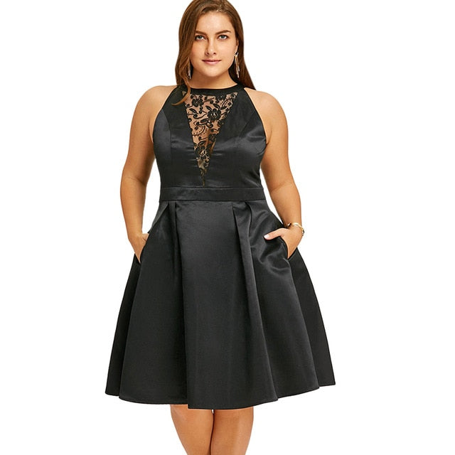 Plus Size Dress Women Black Party Dress Robes Lace Insert Sleeveless Swing Dresses Vestidos Mujer Big Size Xl-5Xl