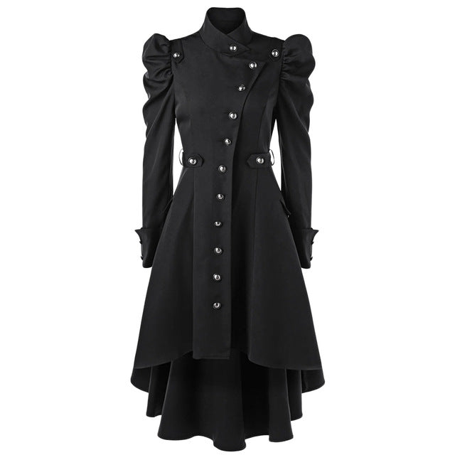 Puff Shoulder Button Up Dip Hem Trench Coat Stand-Up Collar High Waist Outerwear Winter Coats 2Xl