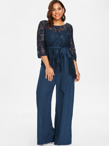 Women Plus Size 5Xl Wide Leg Jumpsuit With Lace Blouse Casual Solid Belted Two Piece Palazzo Jumpsuit Ladies Set Big Size
