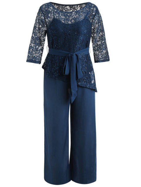 e836b706322 Women Plus Size 5Xl Wide Leg Jumpsuit With Lace Blouse Casual Solid Belted  Two Piece Palazzo Jumpsuit Ladies Set Big Size