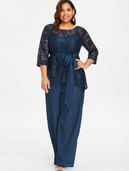 009960a7f Women Plus Size 5Xl Wide Leg Jumpsuit With Lace Blouse Casual Solid Belted  Two Piece Palazzo