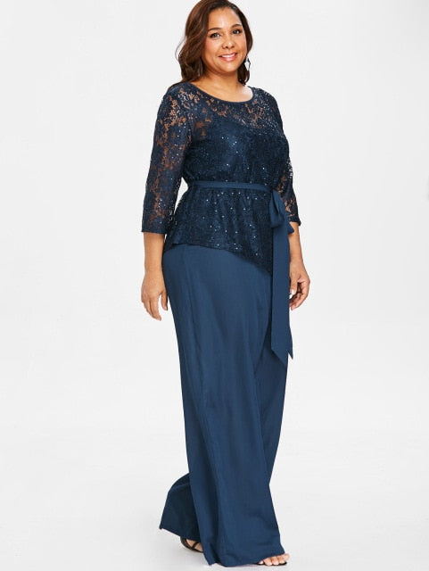 0220c3575f2b37 Women Plus Size 5Xl Wide Leg Jumpsuit With Lace Blouse Casual Solid Belted  Two Piece Palazzo Jumpsuit Ladies Set Big Size