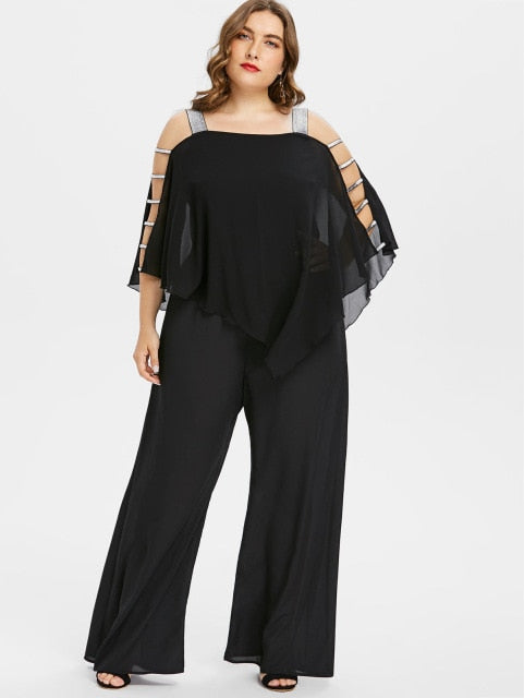 e7a8268d2bf55f Women Plus Size Jumpsuit Square Neck Ladder Cut Out Overlay Loose Jumpsuit Asymmetrical  Three Quarter Sleeve Jumpsuits