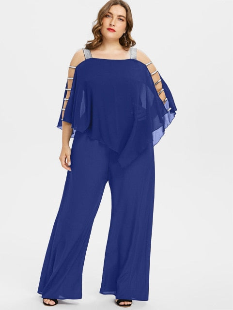 Women Plus Size Jumpsuit Square Neck Ladder Cut Out Overlay Loose Jumpsuit Asymmetrical Three Quarter Sleeve Jumpsuits