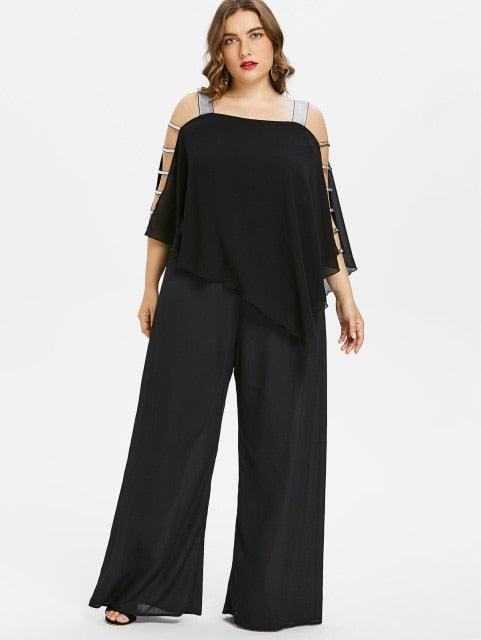 ee92849a59 Women Plus Size Jumpsuit Square Neck Ladder Cut Out Overlay Loose Jumpsuit  Asymmetrical Three Quarter Sleeve Jumpsuits