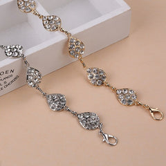 Women 2018 Chain Waist Belts Metal Single Row Leaves Rhinestone Belt Ladies Dresses Ceinture Femme