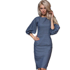 Women Autumn Faillette Print Dress Casual O-Neck Lantern Sleeves Elegant Bodycon Party Dress New Year H7