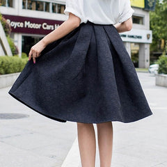 Women Autumn Retro High Waist Elegant Female Jacquard Mini Pleated Knee-Length A-Line Solid Color Skirts H7