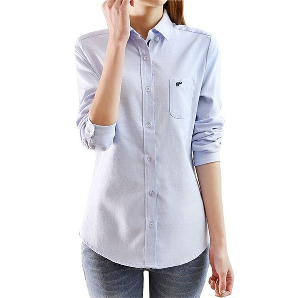 Women Blouse Shirt Cotton Summer 2018 Long-Sleeve Casual Body Denimslim Jeans Shirts