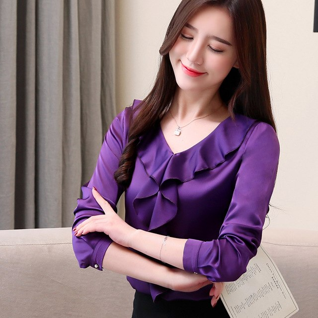 Women Blouse Woman Spring Shirts Tops Casual Silk Blouse Tops Woman Clothing Solid Shirts Office Lady Shirt Plus Size
