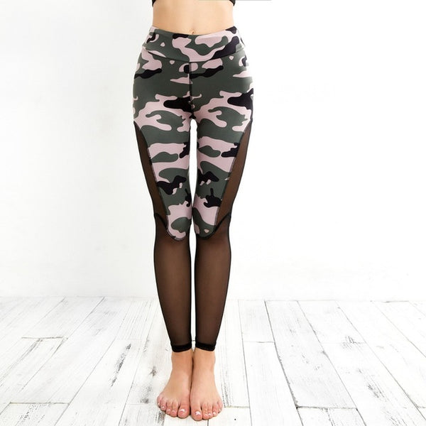 Women Camouflage Printed Leggings Mesh Patchwork Fitness Leggings Summer Breathable Dry Quick Workout Slim Jeggings