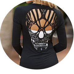Women Casual Cotton Blouse Long Sleeve Back Skull Hollow Shirts Jumper Jacket H7