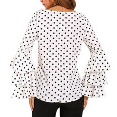 Women Flare Long Sleeve T-Shirt Tops Polka Dot Loose T-Shirts Big Size