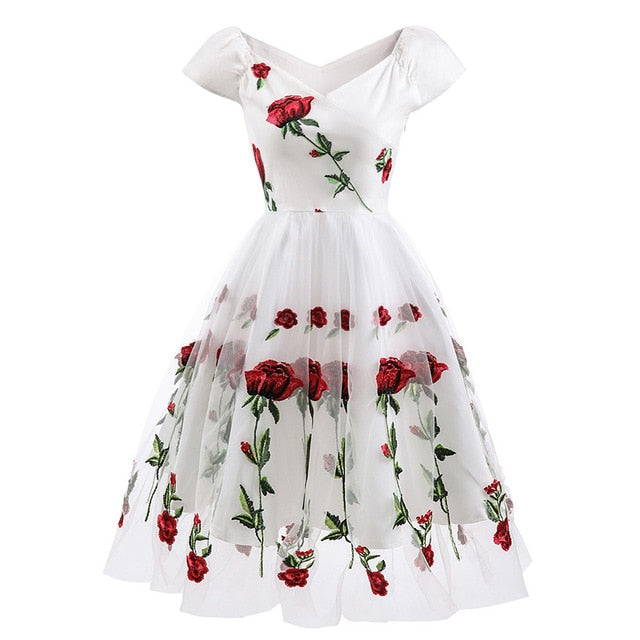 Women Floral Embroidered Mesh Dress Off The Shoulder Short Sleeves Vintage A-Line Ladies Party Dresses Vestidos Verano