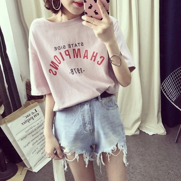 Women Letter Printed Short Sleeved T-Shirt Fashion Pink White Alphabetic Shirt Top Women Tops M L Xl Xxl H5