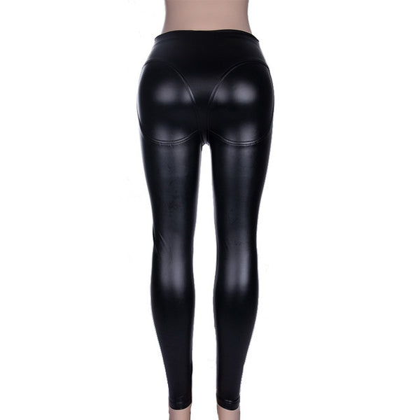 Women Leggings Push Up Wet Look Pu Leather Jeggings Chic Heart Patchwork Black Slim Skinny Pants Crotch Zipper Lady Leggins
