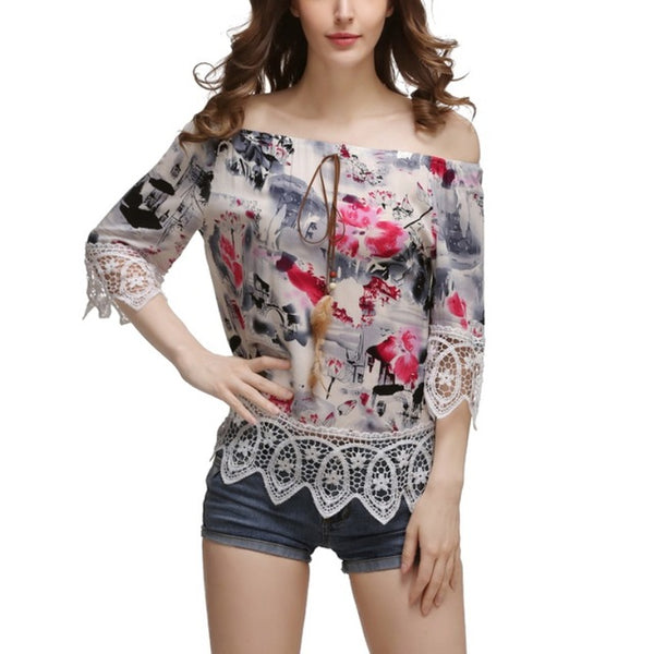 Women Vintage Elegance Slash Neck Off Shoulder Floral Printed Short Sleeve Soft Chiffon Lace Summer Beach Blouse Tops H7
