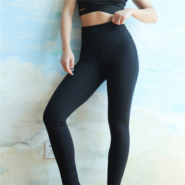Women Yoga Pants Running Fitness Elastic Tights High Waist Sports Leggings Cross Belt Back