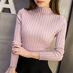 Autum Women Ladies Long Sleeve Turtleneck Slim Fitting Knitted Thin Sweater Top Femme 2018 Korean Pull Tight Casual Shirts H9