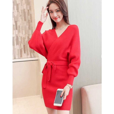Lace Up V Neck Backless Sweater Dress Autumn Winter Women Long Batwing Sleeve Knitted Sweater Bandage Dress