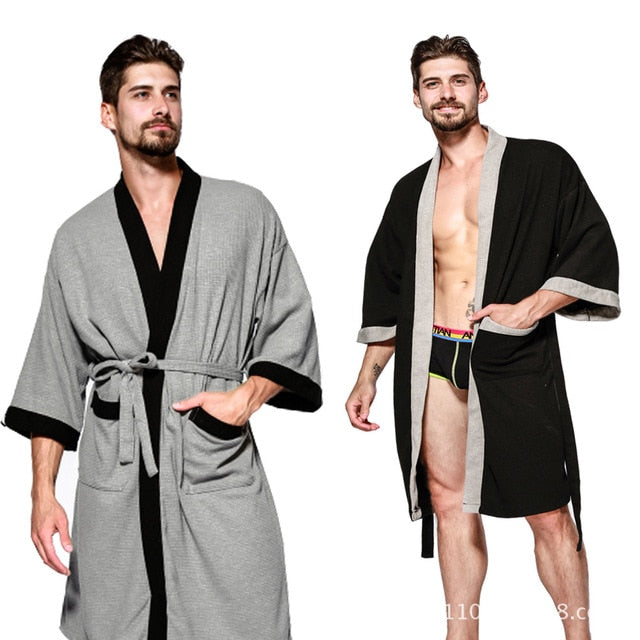 Home Suit Cotton Men Robe Male Sleepwear Kimono Casual Robes Men Bathrobe Home Wear Spring Autumn Handsome Robes