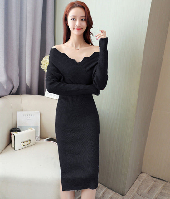Nvyou Gou Warm Women Autumn Winter Sweater Knitted Dresses Slim Elastic V Neck Long Sleeve Lady Bodycon Dresses