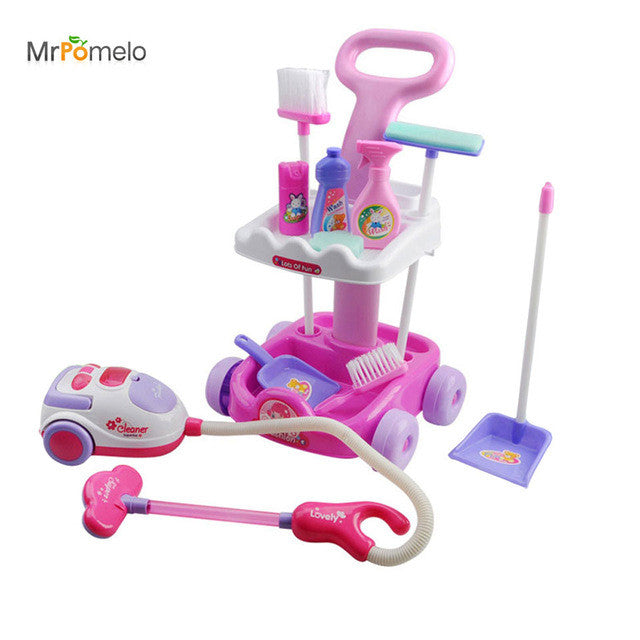 Toy Girls Play House  Cleaning Trolley with Vacuum Cleaner Tool Hygiene Doll Furniture