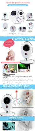 Baby Monitor with Camera, Temperature Display, Night Vision 2.4 inch Large Screen
