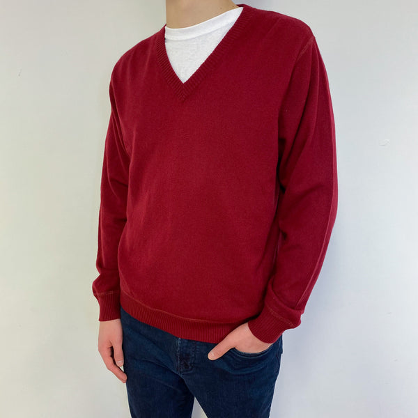 Men's Peonie Red V Neck Jumper Small