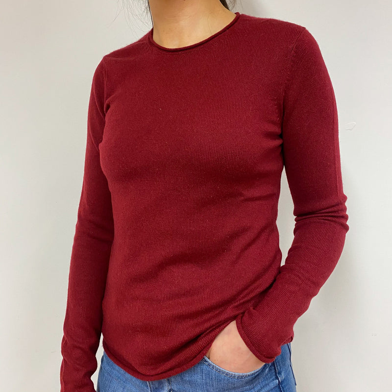 Claret Red Crew Neck Jumper Small