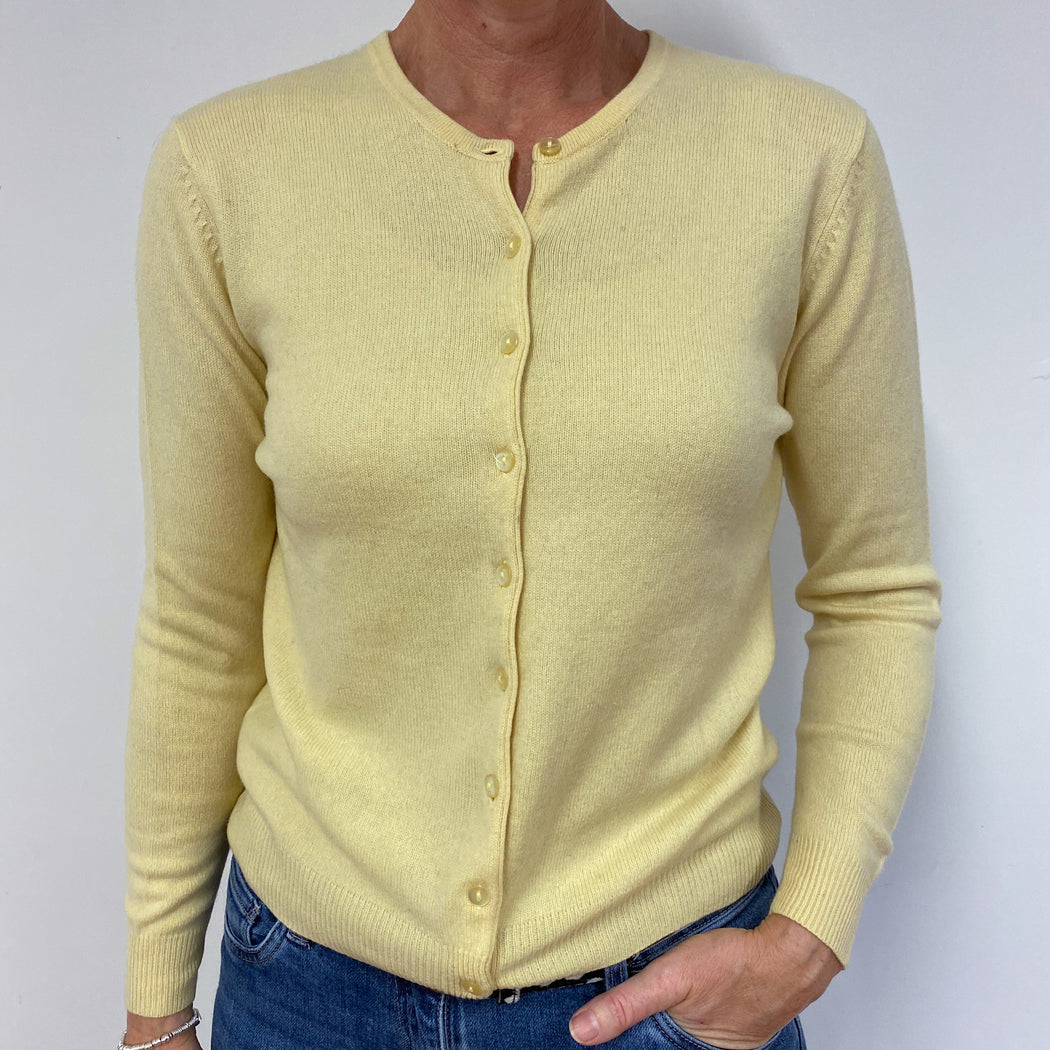 Custard Yellow Crew Neck Cardigan Medium
