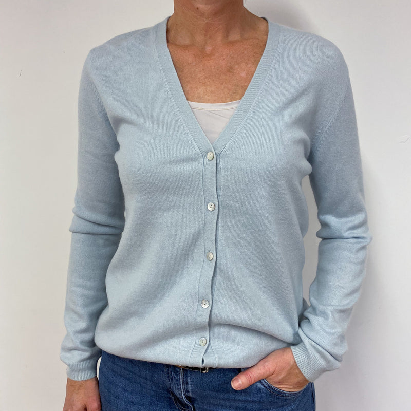 Powder Blue V Neck Cardigan Medium
