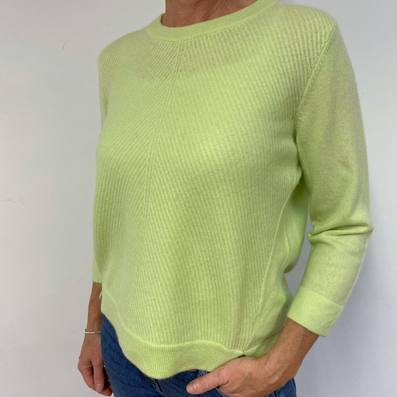 Lime Green Tunic Style Crew Neck Jumper Medium