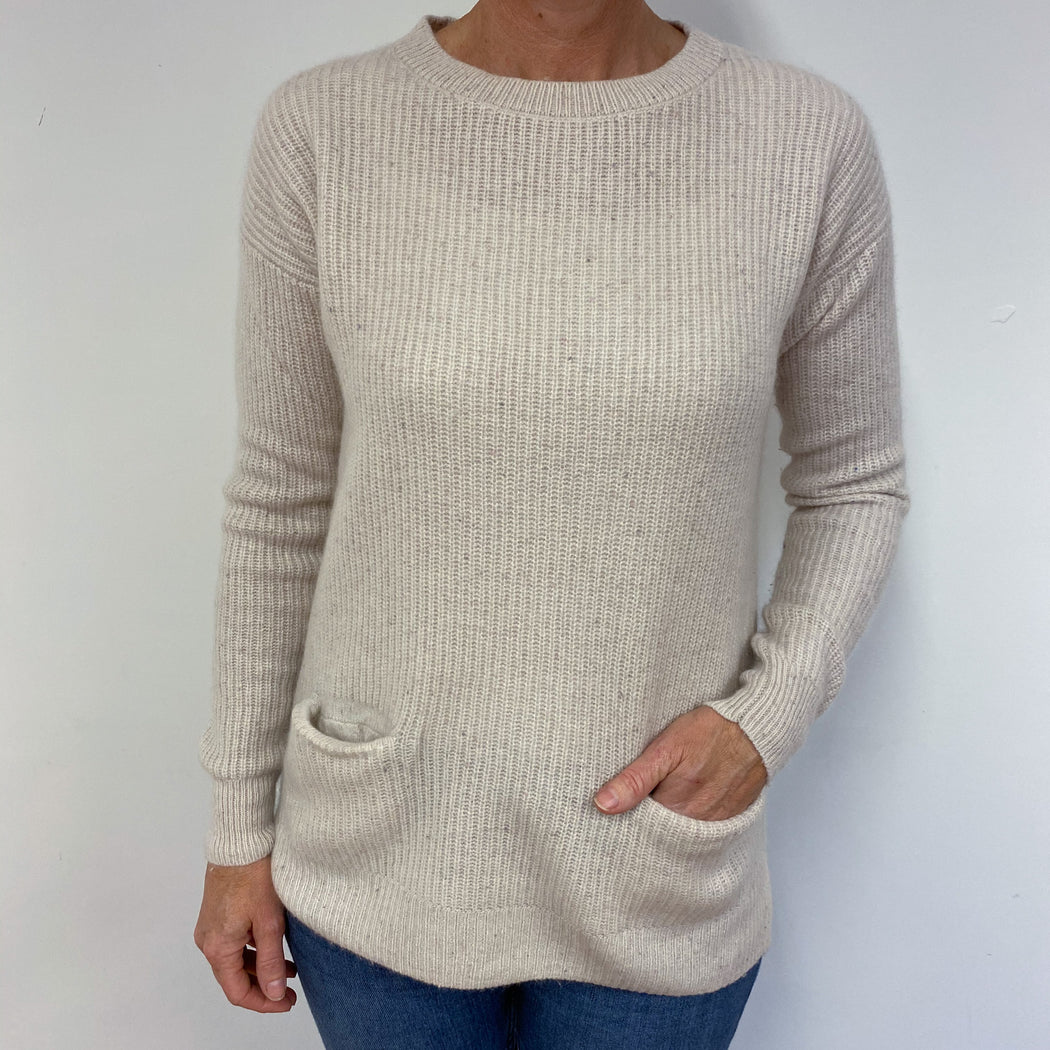 Cosy Oatmeal Tunic Style Crew Neck Jumper Medium