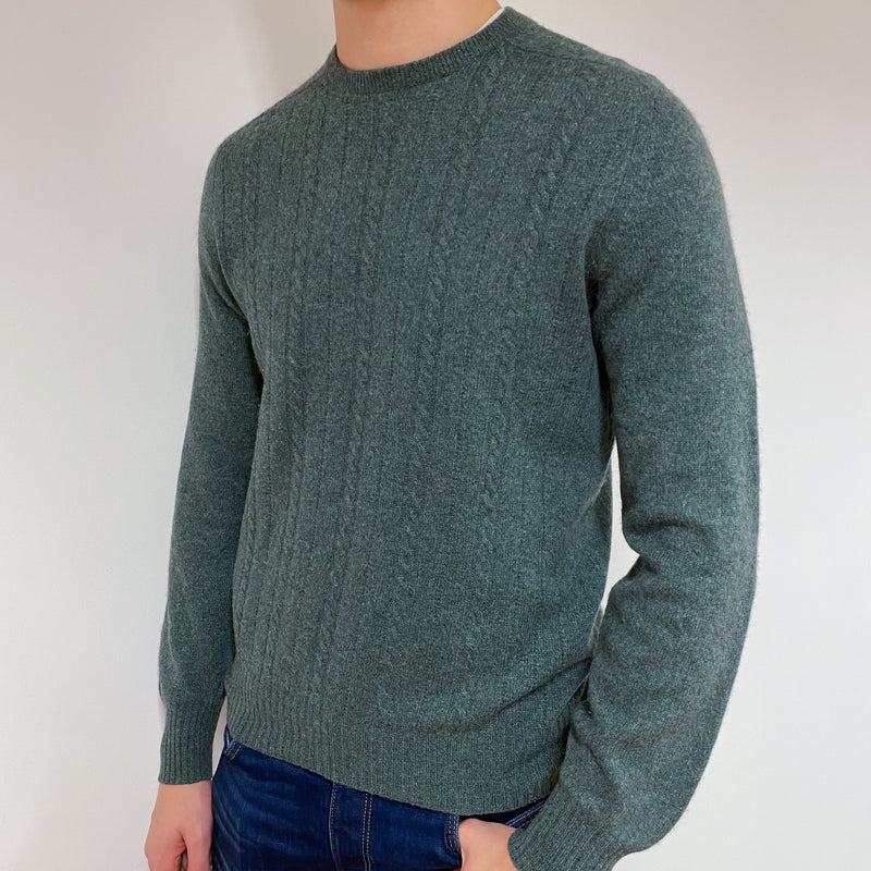 Men's Khaki Green Cable Knit Crew Neck Jumper Medium